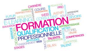 Formation professionnelle qualification emploi pro e-learning à distance compétences nuages de mots couleurs texte multicolore